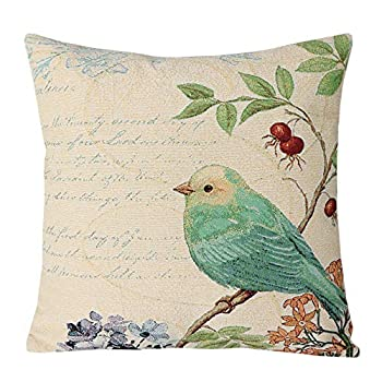 YUKORE SimpleDecor Jacquard Bird On The Tree Accent Decorative Throw Pillow Case Spring Pillow Covers for Sofa Couch Decoration 18x18 Inches Cream