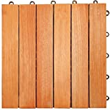 LuuNguyen Interlocking FSCCertified Eucalyptus/Antislip 6 Slat/Deck Tile/Natural Wood Finish, Box of 10 Tiles
