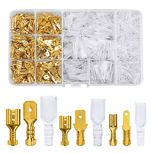 FIXITOK 480 Stücke Flachsteckhülsen Set, 2,8 mm 4,8 mm 6,3 mm Männlich Weiblich Flachstecker Spade Kabelschuhe Sleeve Terminal mit Isolierhülse Sleeve Sortiment Kit (Golden)