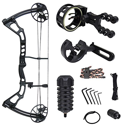 iGlow 15-70 lbs Black Archery Hunting Compound Bow with Premium Kit 175 150 60 55 30 lb Crossbow