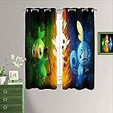Rideau de chambre à coucher avec motif anime Pokémon - Occultant - Isolation thermique - Œillets - Rideau de fenêtre pour salon - 182 x 160 cm