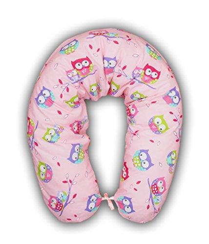 Amilian® XXL Bezug für Stillkissen Baby Lagerungskissen Lang Seitenschläferkissen 170 cm Eule Rosa