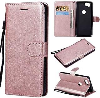 Googleのピクセル2、モノクロのプレミアム品質PUレザーフリップ財布のための電話ケース携帯電話アクセサリーは、リストストラップ(カラー:パープル)とケーススタンド-Roségold