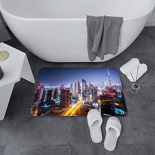 Badematte rutschfest 60x100 cm,Stadt, Nacht in Dubai Vivid Display Vereinigte Arabische Emirate Touristena,Bodenmatte oder Badvorleger für Dusche, Badewanne und Toilette - für Fußbodenheizung geeignet