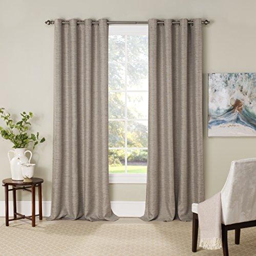 "Eclipse Blackout Curtains for Bedroom-NewportInsulated Darkening Single Panel Grommet Top Window Treatment Living Room, 52"" x 84"", Mushroom"