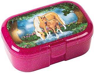 Mauder Verlag 10661 TapirElla glitterlunchbox paardentover, van kunststof, broodtrommel met groente- en fruitvak