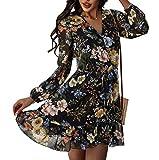 N\C Women's Sexy V-Neck Long Sleeve Open Back Elastic Waist Ruffle Dress Printed Mini Skirt (Medium, Black, m)
