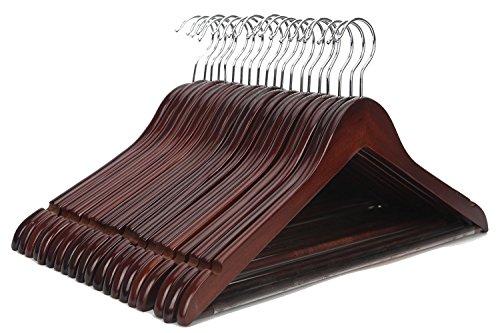 J.S. Hanger Grucce in Legno, Molto Resistenti e multifunzionali, di Alta qualità, per Abiti, Giacche, Cappotti, Camicie, camiciette, rifinitura in Noce (20 unità)