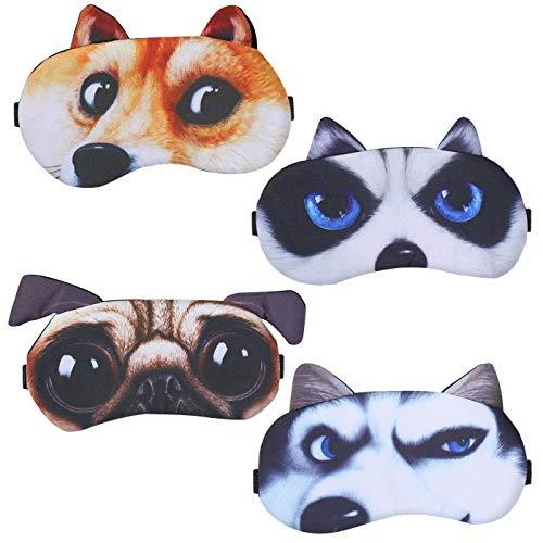 4er-Set Schlafmaske Niedliche Augenbinde, Weiche und Flauschige Schlafmaske, für Mädchen, Damen, Daydreams, Augenbinde Schlafbrille Lustig Augenabdeckung für Kinder Mädchen Damen(Süßer Hund 4 Stück)