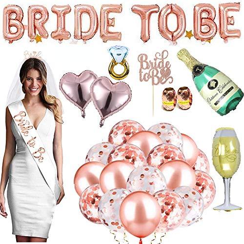 30 Piezas Bride to Be Globos Banner para Fiestas, Hen Party Decoration, para Fiestas Despedida Soltera con Globos de Oro Rosa, Confetti Globos