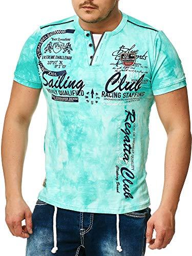 Herren T-Shirt mit Knopfleiste   Verwaschen V-Neck Kurzarm mit Gestickten Details  Sportlich   Elegant Sailing Slim Fit (bis 5XL) 2879 (3XL, Mint 2879)
