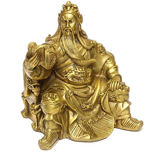Dusky Seaside Sparrow FengShui Guan Yu Statue chinesischer Kampf Held Krieger Figur chinesische handgefertigte Messing Reading Hero