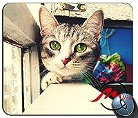 ZMvise緑色の目をしたかわいい灰色の猫ファッション漫画マウスパッドマットカスタム四角形ゲームマウスパッド