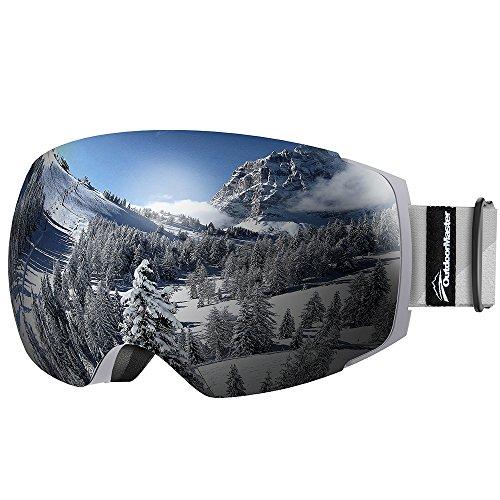 OutdoorMaster Skibrille Pro für Damen&Herren, Snowboardbrille mit magnetisch wechselsystem, OTG Schneebrille, Ski Goggles(Grauer Gurt VLT 10{15485c2089d05fe699906e6550cd8a41c79c406ac0bc9700a5ec473cf5a8acce} graue Gläser&Schutzhülle)