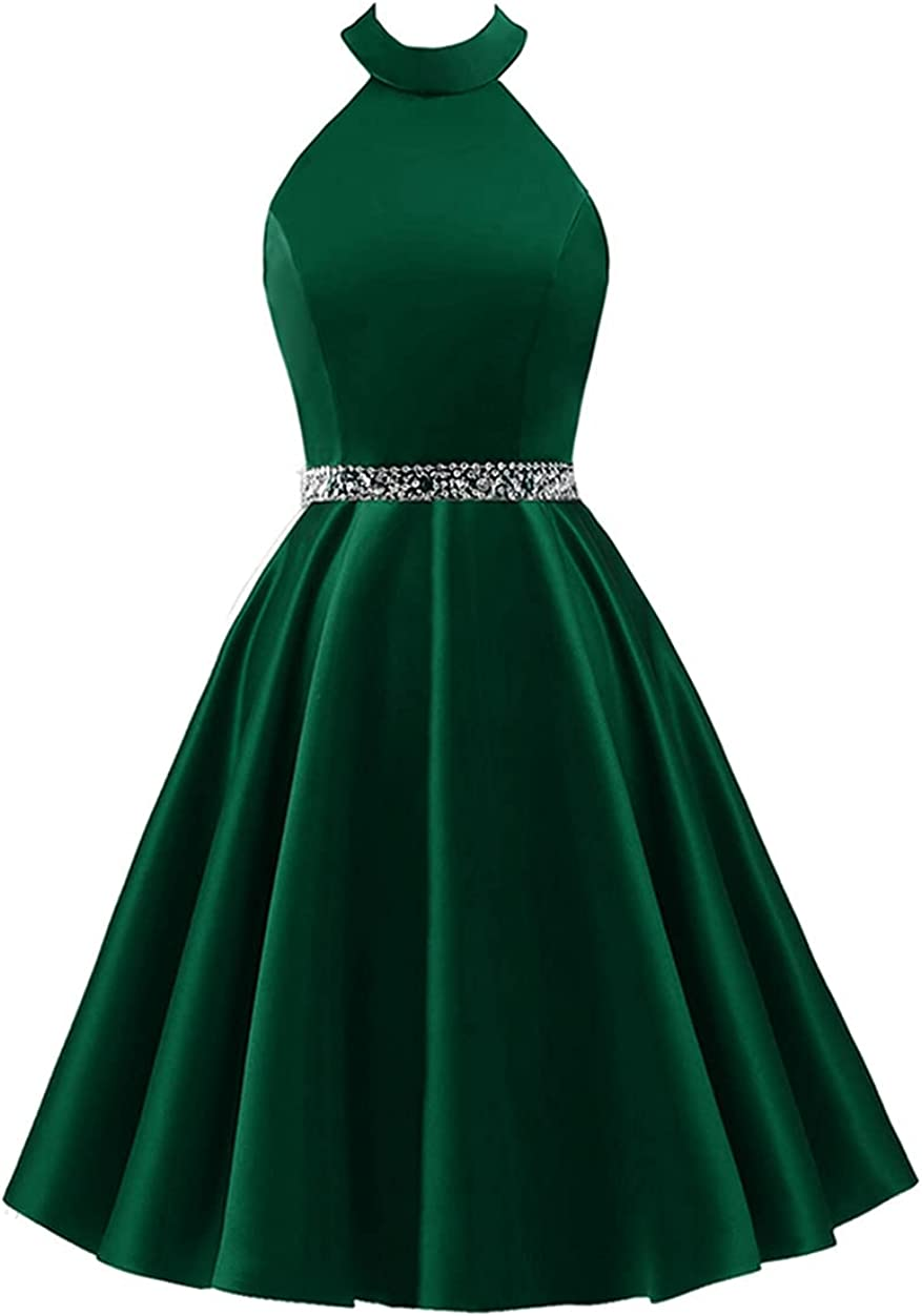 Changuan Women's Short Satin Prom Dress Halter Beaded Homecoming Evening Formal Party Gowns