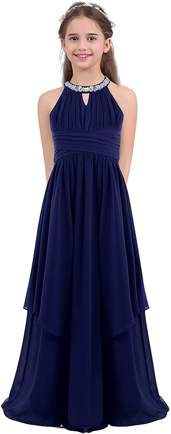 Choice CHICTRY Kids Girls Halter Neck Al sold out. Long Wedding Party Junior Chiffon