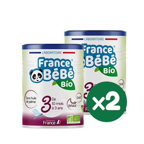FRANCE BéBé BIO - Lait infantile de croissance bébé 3ème âge en poudre - BIFIDUS - OMEGA 3 - SANS HUILE DE PALME - Lait fabriqué en France - Pack 2 boîtes de 400g