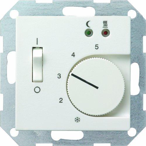 Gira 039427 kamertemperatuurregelaar 230 V met sensor vloerverwarming systeem 55, zuiver wit mat