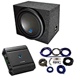 Universal Car Stereo Single 12' Alpine Type S S-W12D4 Bundle with Rearfire Sealed Sub Box Enclosure with S-A60M Amplifier & 4GA Amp Kit