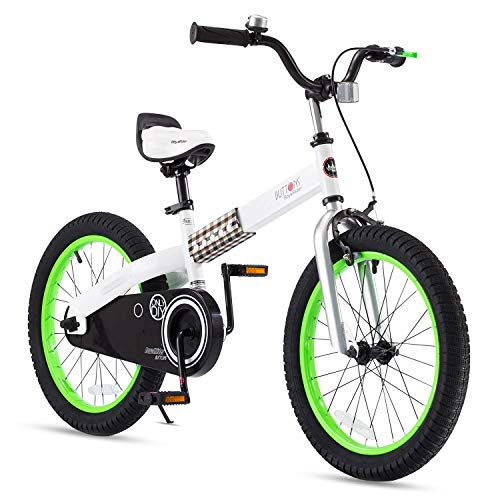 RoyalBaby Boys Girls Kids Bike 18 Inch Buttons Bicycles with Kickstand Child Bicycle Green