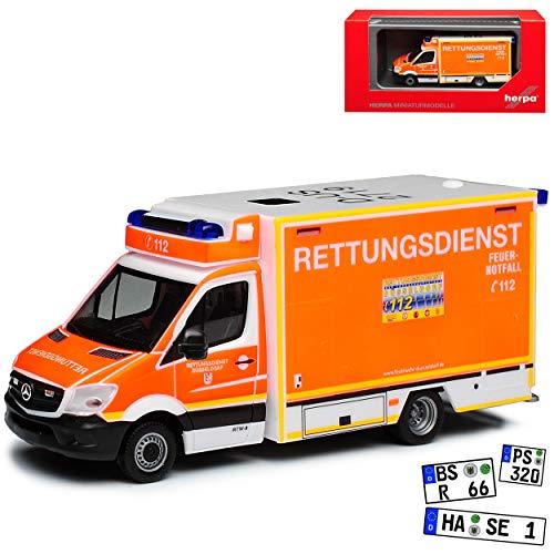 Mercedes-Benz Sprinter II Transporter Rettungsdienst Fahrtec RTW Kofferaufbau NCV 3 W906 Modell 2006-2018 Version Ab Facelift 2013 H0 1/87 Herpa Modell Auto