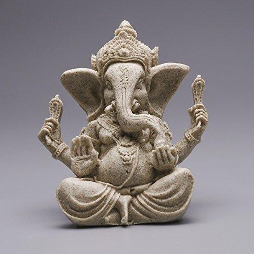 VORCOOL Sandstein Ganesha Elephant Statue - Buddha Skulptur Handgemachte Figur