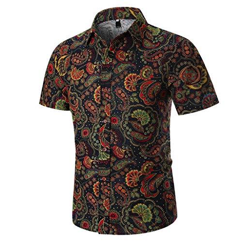 Camisas Hombre Flores 2020 Moda SHOBDW Playa de Verano Impresión Hawaiana Vintage Retro Blusa Slim Fit Tops Shirts Cuello Mao Camisetas Hombre Manga Corta Tallas Grandes 3XL
