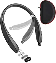 ZMunited Foldable Bluetooth Headphones, Wireless Bluetooth 5.0 Neckband Headset with Retractable Earbuds, CVC6.0 Noise Cancelling Mic for Cellphone Tablets TV