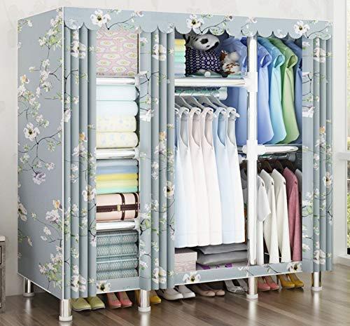 XQYPYL Wardrobe Foldable Closet with Hanging Rail, Portable Clothes Closet Storage Organizer Wardrobe Clothes Rack with Shelves Bedroom Furniture,07,17045170cm