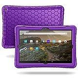 FINTIE Funda de Silicona para Amazon Fire HD 10 (Solo Compatible con el Tablet de 11.ª generación, Modelo de 2021) - [Honey Comb Series] Carcasa Antideslizante y Antichoque para Niños, (Morado)