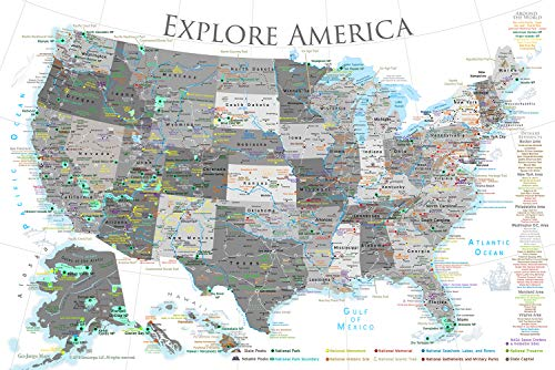 GeoJango National Parks Map Poster with USA Travel Destinations - Black & White Edition (36W x 24H inches)