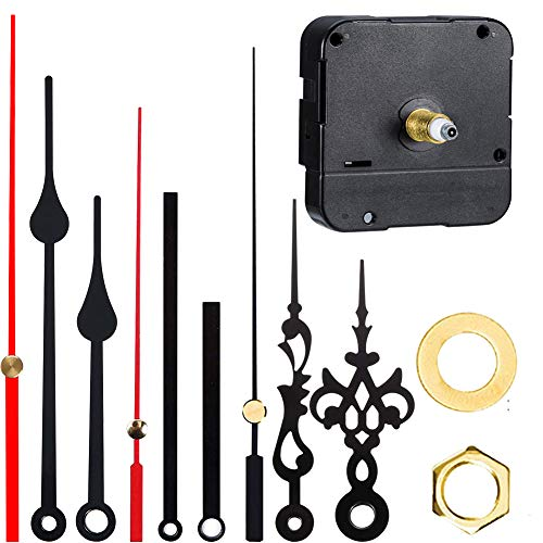 REYOK 3er-Set Langschaft Uhrwerk mit Hohem Drehmoment und 3 Verschiedenen Zeigerpaaren, Schaftlänge 0.73 Zoll/ 18.5 mm für Wanduhr, zum Basteln, Funkuhr, Schwarz