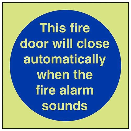 vsafety 18006am-g señal obligatoria, automático Fire puerta, plástico, cuadrado, 150mm x 150mm), color azul