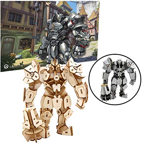Overwatch Reinhardt 3D Wood Puzzle &Model Figure Kit (139 Pcs) with Exclusive Poster - Build & Paint Your Own 3-D Game Toy - Holiday Educational Gift for Kids & Adults, No Glue Required, 12+