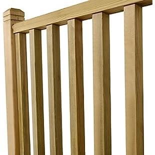Wyre Direct 10x Square Wood Decking Spindles Balustrade Railings Set - Decking Panel Wooden