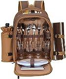 Kacsoo Mochila de picnic para 4 personas, con compartimento refrigerado aislado, portátil, bolsa de pícnic, bolsa de almuerzo con manta de forro polar para familias, exteriores, camping