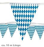 Oktoberfest Wimpel Girlande Wimpelgirlande Bayern blau/weiss Karos Rauten Länge ca. 10 Meter
