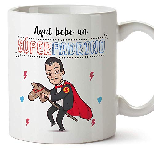 MUGFFINS Taza Padrino – AQUÍ Bebe UN Super Padrino – Taza Desayuno 350 ml Idea Regalo para Padrinos