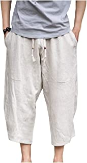 EnergyMen Solid 3/4 Length Linen Loose Straps Relaxed-Fit Harem Pant