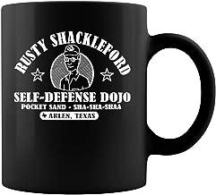 Rusty Shackleford Self Defend Dojo Ceramic Coffee Mug Tea Cup (11oz, Black)