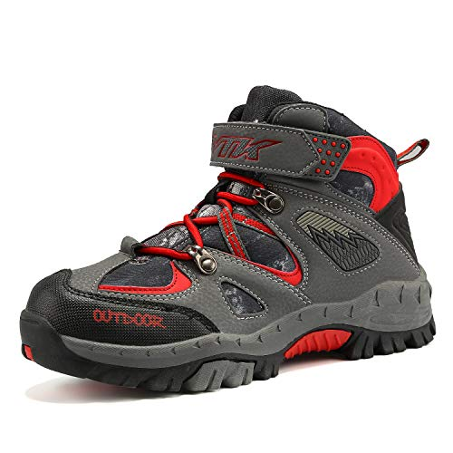 VITUOFLY Boys Hiking Boots Kids Hiking Shoes Girls Outdoor Adventure Trekking Shoes Warm Winter Snow Boots Anti-Skid Sneakers Steel Buckle Durable Comfortable Grey/Red Size 4