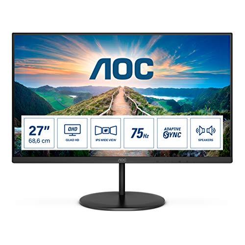 AOC Q27V4EA - 27 Zoll QHD Monitor, AdaptiveSync (2560x1440, 75 Hz, HDMI, DisplayPort) schwarz