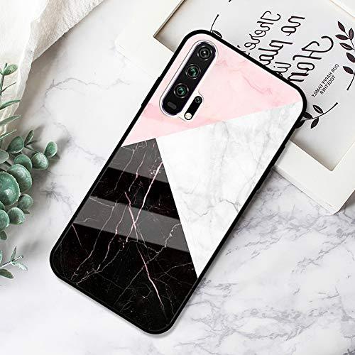 Ysimee Marmor Hülle kompatibel mit Huawei Honor 20 Pro Hülle - Kratzfeste 9H Anti-Gelb glattes Glas Rückseite & TPU Silikon Rahmen und weichem Bumper - Stoßfeste HandyHülle Glas Hülle, Marble -5