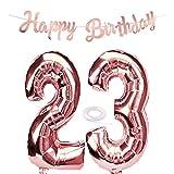 SNOWZAN Ballons gonflables à l'hélium 23e anniversaire pour fille - En forme de chiffre 23 - Couleur or rose - Taille XXL - 23 ans - Banderole d'anniversaire géante de 80 cm - Numéro 23 - Pour fête