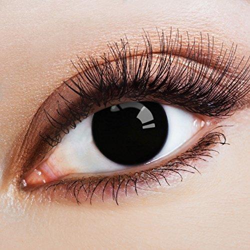 aricona Kontaktlinsen Farblinsen - Schwarze Kontaktlinsen deckend ohne Stärke - Halloween Kontaktlinsen schwarz Horror