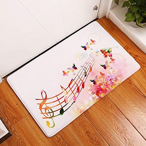 OPLJ Alfombra de Suelo Impresa con Notas de rima Musical para Sala de Estar, baño, Entrada de Cocina, Felpudo Antideslizante, Alfombrilla Lavable A4 40x60cm