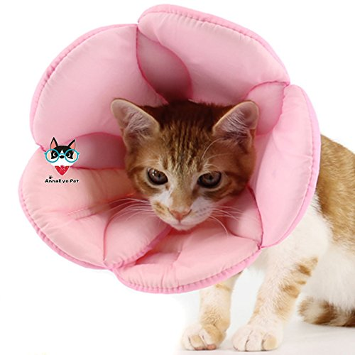 AnnaEye Pet Recovery Pet Cone E-Collar for Cats and Small Dogs - Comfortabe Flower Pattern Elizabethan Collar Pink M