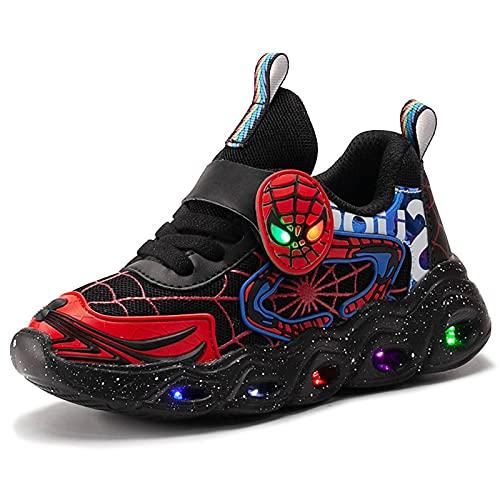 HAOYUXIN Zapatillas de Deporte de Malla para niños Spiderman, Luces LED, Luminosas, para niños, Zapatillas Deportivas Ligeras con Personalidad Baja,Black-30EU