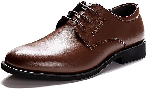 Feidaeu été Hommes Chaussures en Cuir Véritable d'affaires d'affaires d'affaires en Cuir Hommes Décontracté AugHommestation Haute Pointe Bout Noir Chaussures pour Hommes bc9