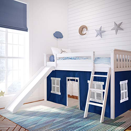 Max & Lily Twin Low Loft Bed with Slide and Blue Curtains, White